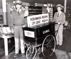 Vintage photo of the Post Office mail cart, 1966.