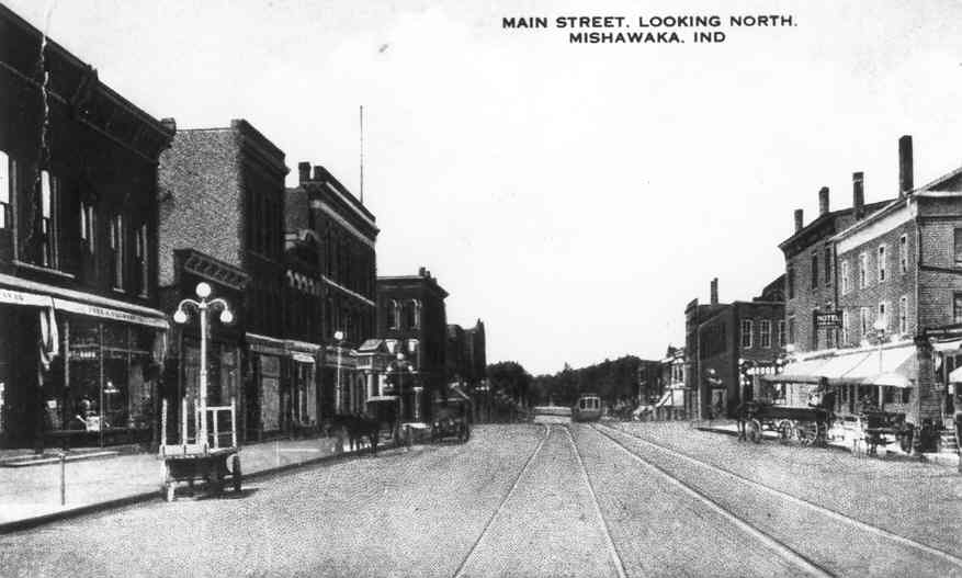 Vintage photo of Main Street in Mishawaka looking north