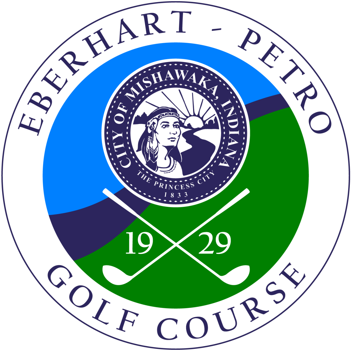 Round blue and green logo for Eberhart-Petro Golf Course with City Seal and crossed golf clubs