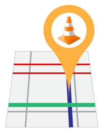 road map icon with location pin drop