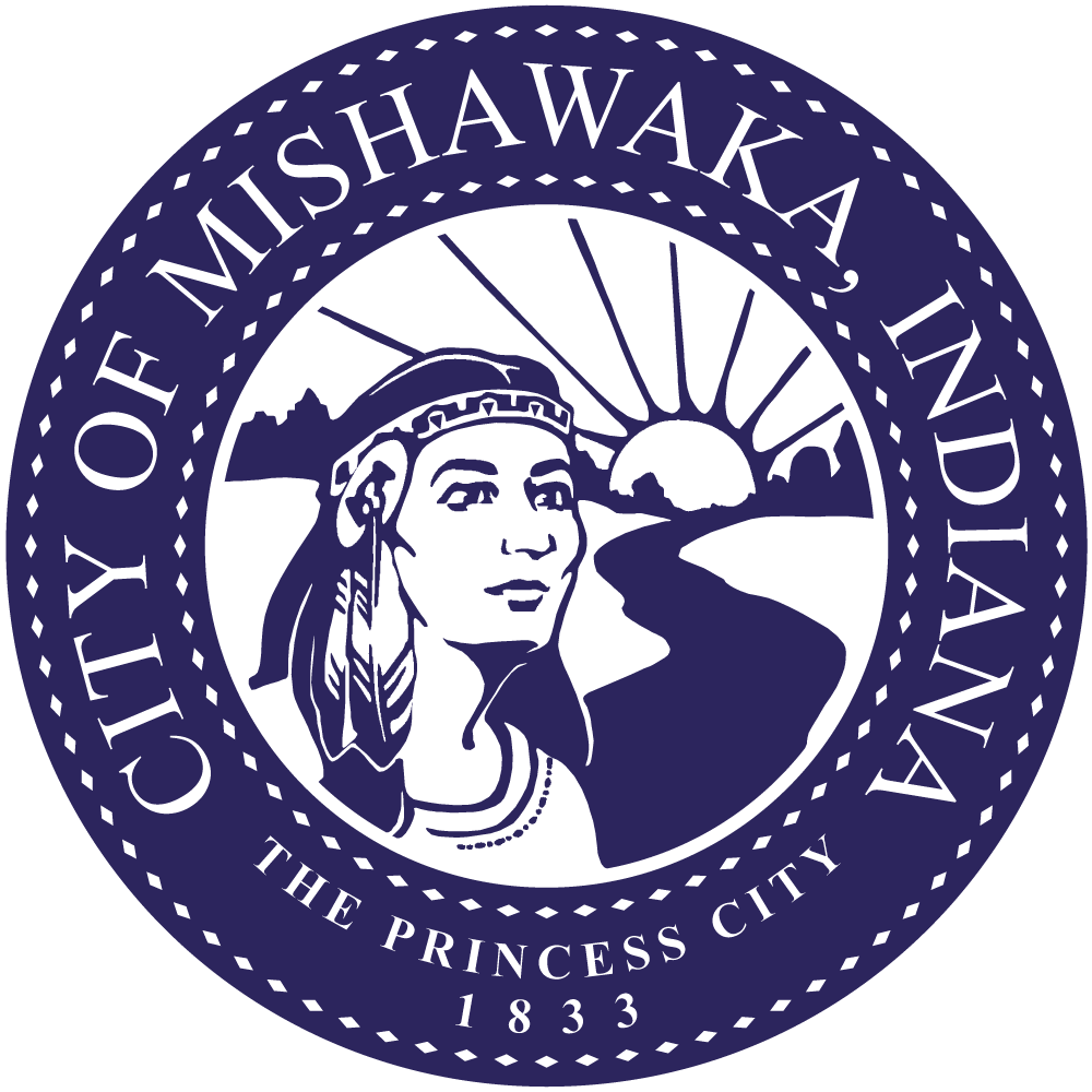 Blue circular City of Mishawaka city seal with Indian princess, sunset and river