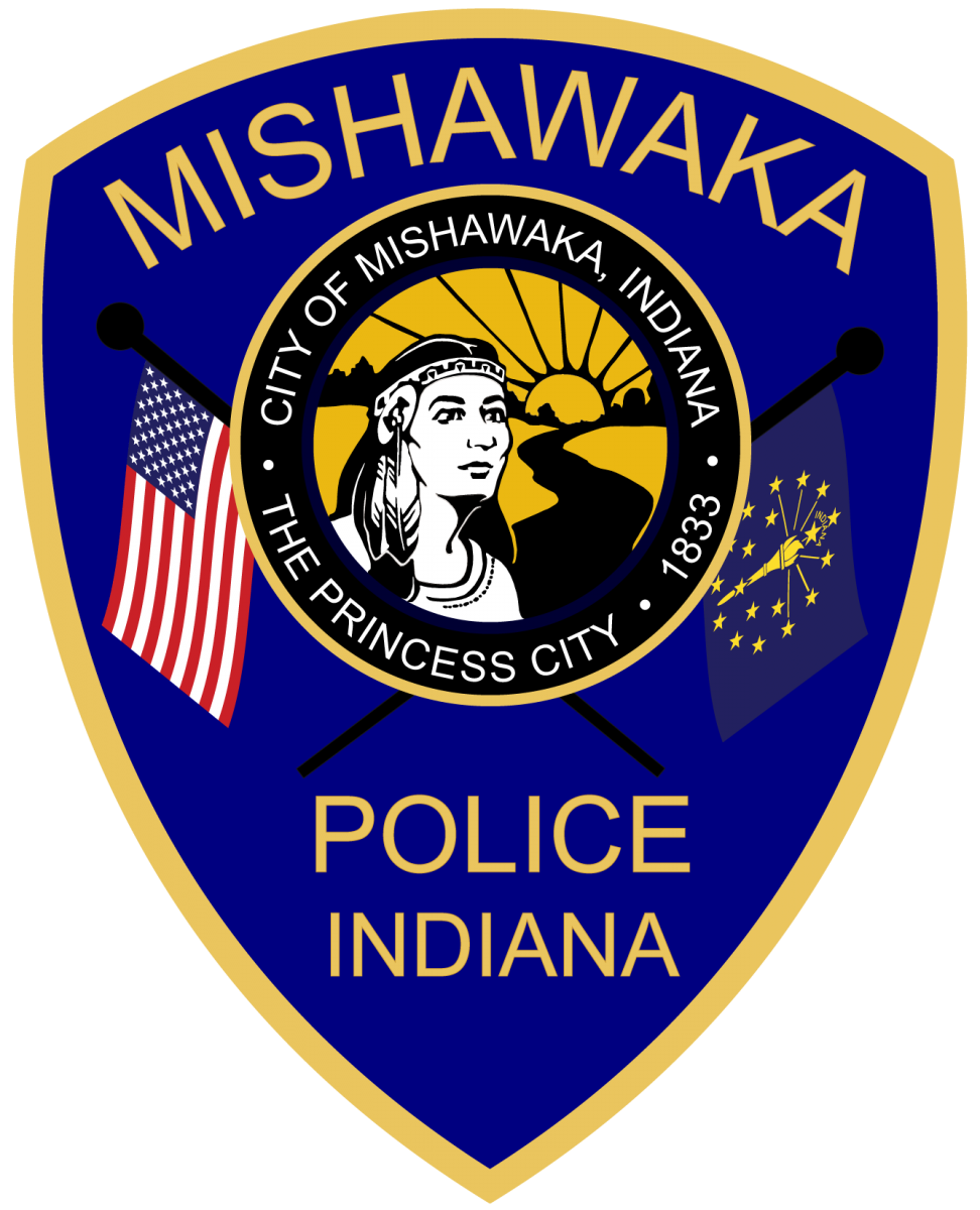 Mishawaka Police Department patch with US flag, Indiana flag, and city seal